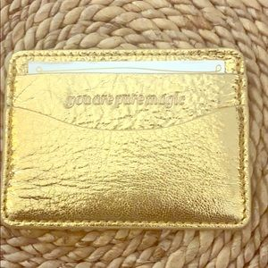 Anthropologie Gold Metallic Card Case New